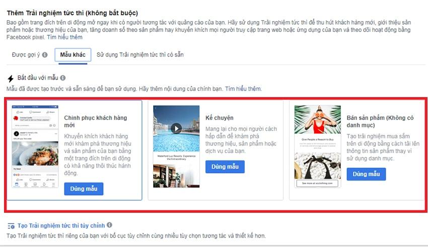 3 mấu canvas có khung sẵn của Facebook