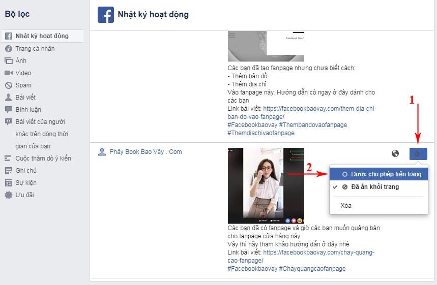 cách hiện lại bài viết đã ẩn trên facebook