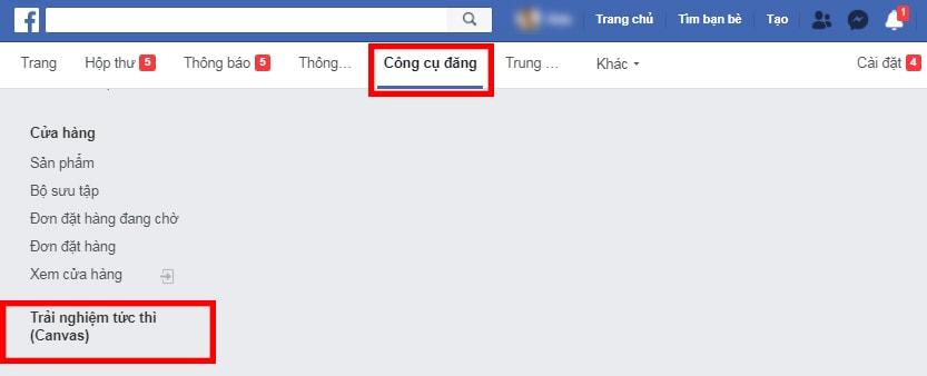 Truy cập công cụ đăng của Facebook
