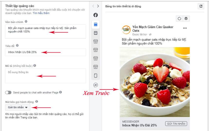 cách tạo quảng cáo messenger