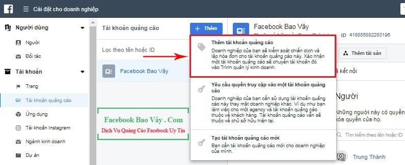 Thêm tài khoản quảng cáo vào Facebook Business
