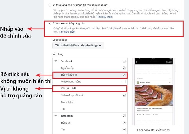 Cài đặt vị trí hiển thị quảng cáo Facebook