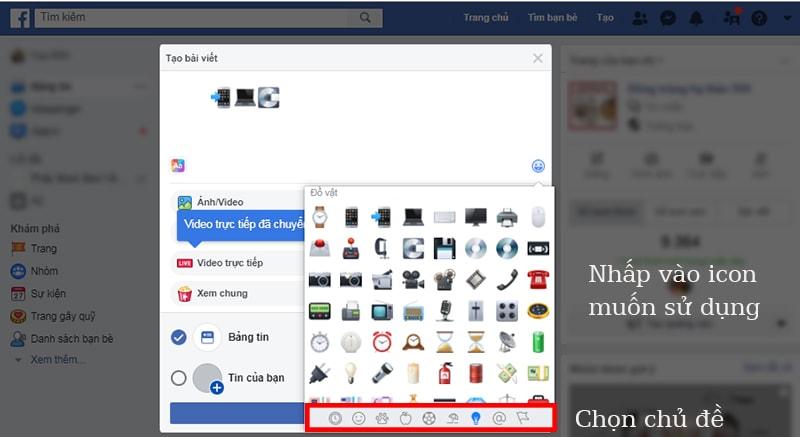 Cách viết icon Facebook từ máy tính