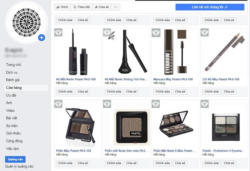 Danh sách sản phẩm trong cửa hàng Facebook được hiển thị sau thêm