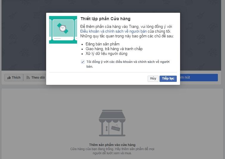 Thiết lập cơ bản sau khi tạo cửa hàng trên Facebook