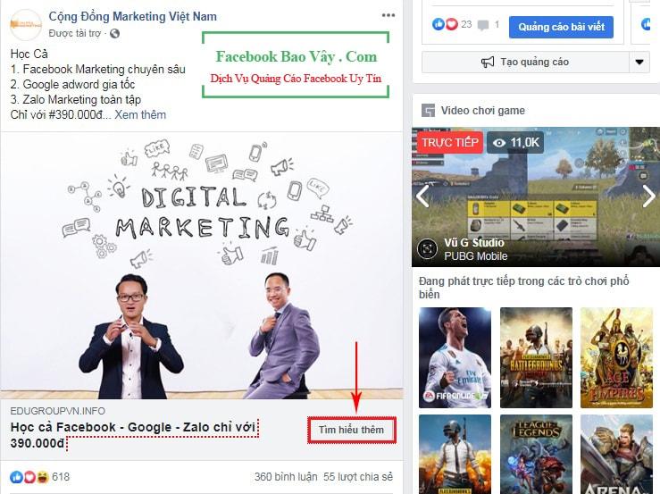 Hình thức quảng cáo Facebook liên kết