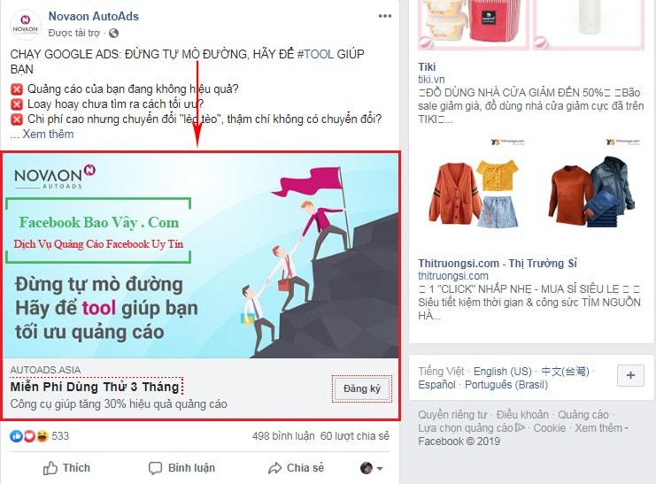 Dạng quảng cáo bài viết tăng tường trên Facebook