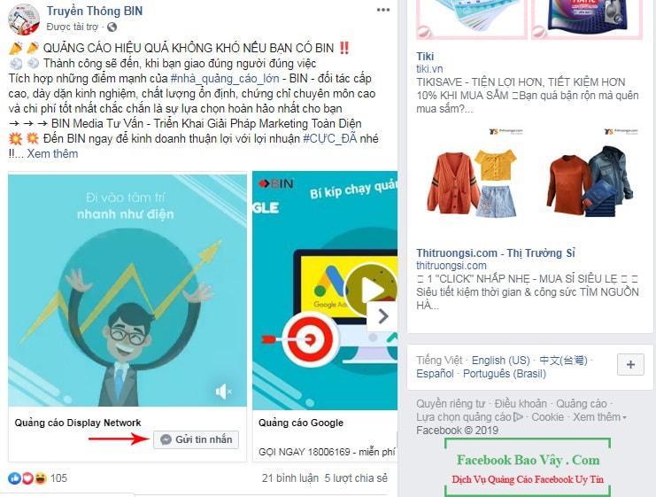 Hình thức quảng cáo messeger Facebook