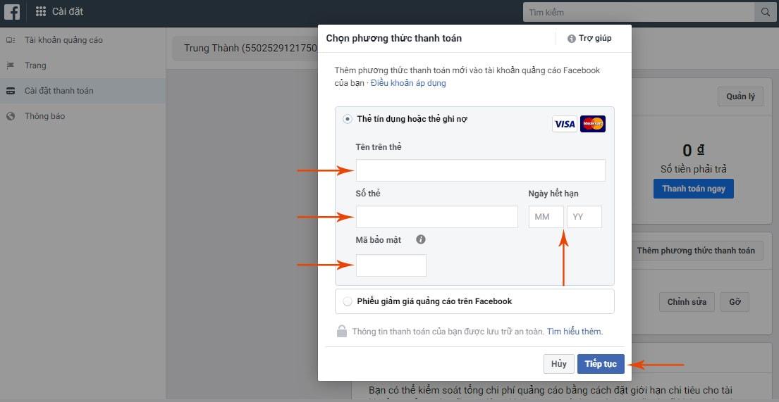 hướng dẫn thanh toán quảng cáo Facebook