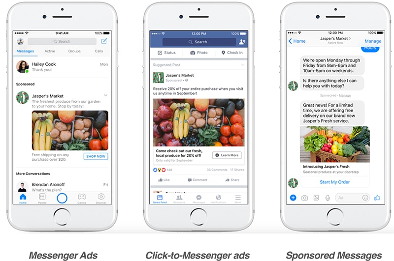 Vị trí hiển thị quảng cáo Messenger trên Facebook