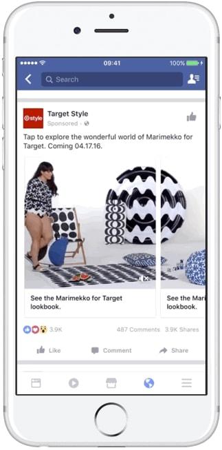 Dạng quảng cáo Carousel trên di động của Facebook