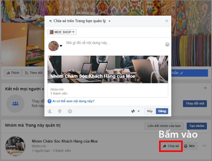 Cách chia sẻ Nhóm đã liên kết trên Fanpage