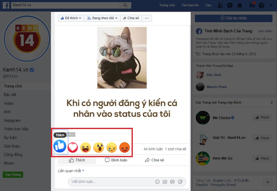 Hệ thống Emoji trên mỗi bài viết Facebook