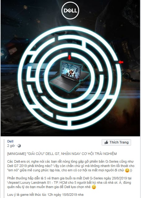 Mini game Facebook hay của Dell yêu cầu động não
