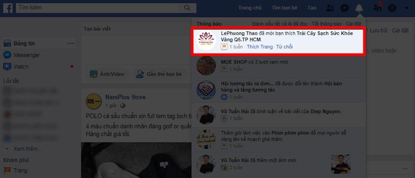 Minh họa lời mời like Fanpage trên Facebook