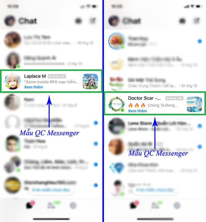 quảng cáo trên ứng dụng messenger
