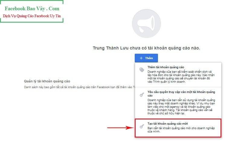 Tạo tài khoản quảng cáo Facebook doanh nghiệp