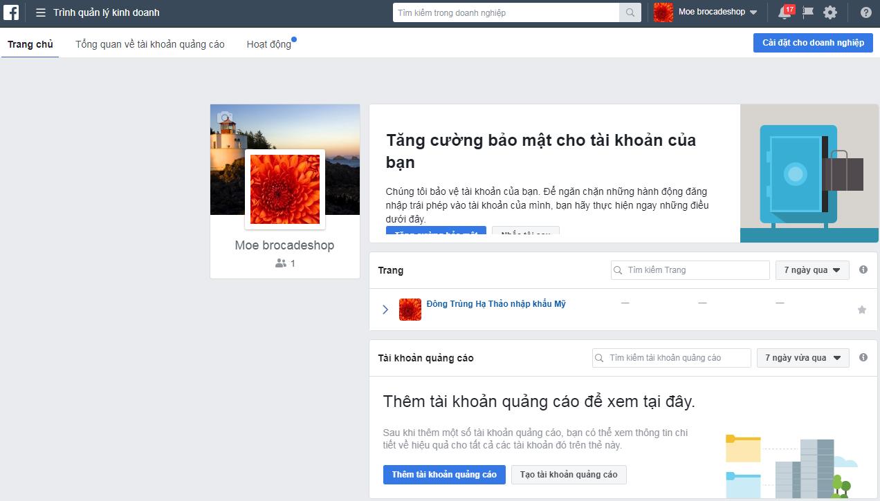 Giao diện trình quản lý Facebook Bussiness