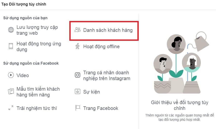 Nút tạo danh sách khách hàng trên Facebook