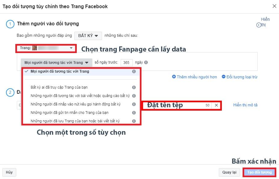 Tạo đối tượng quảng cáo từ dữ liệu trang Fanpage Facebook