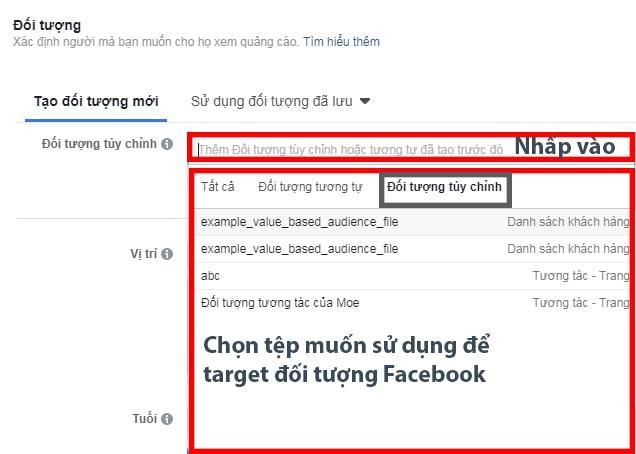 Target quảng cáo vào tệp đối tượng tùy chỉnh Facebook