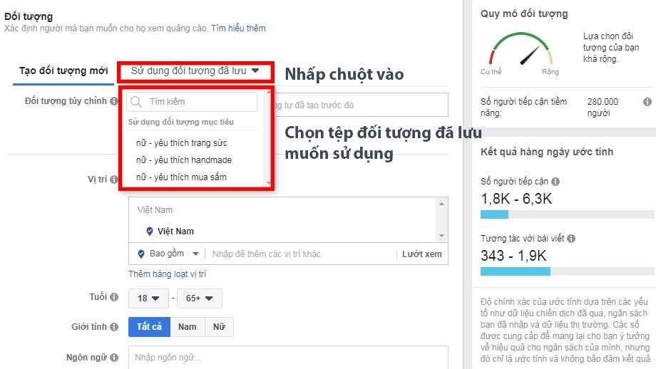 Cách target đối tượng trong tệp Đã Lưu Facebook