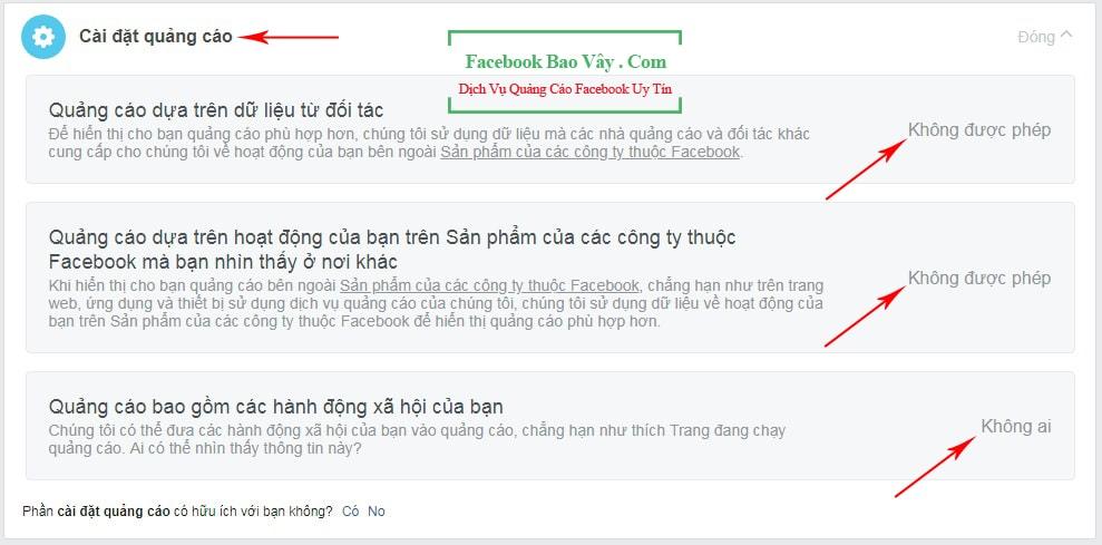 tắt quảng cáo facebook