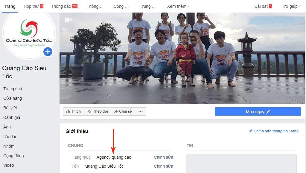 thay đổi danh mục fanpage