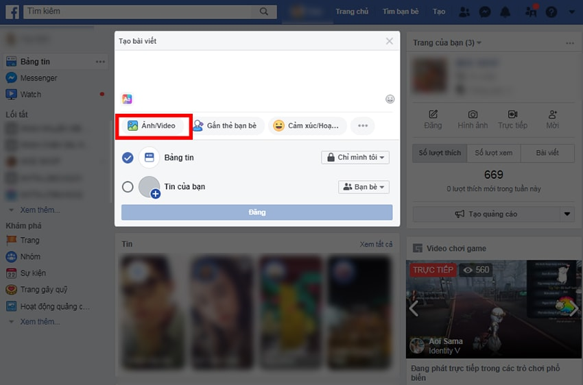 Chọn mục Ảnh/ Video để up video lên Facebook