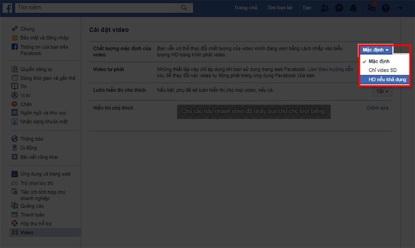 Chọn up video hd lên Facebook nếu khả dụng