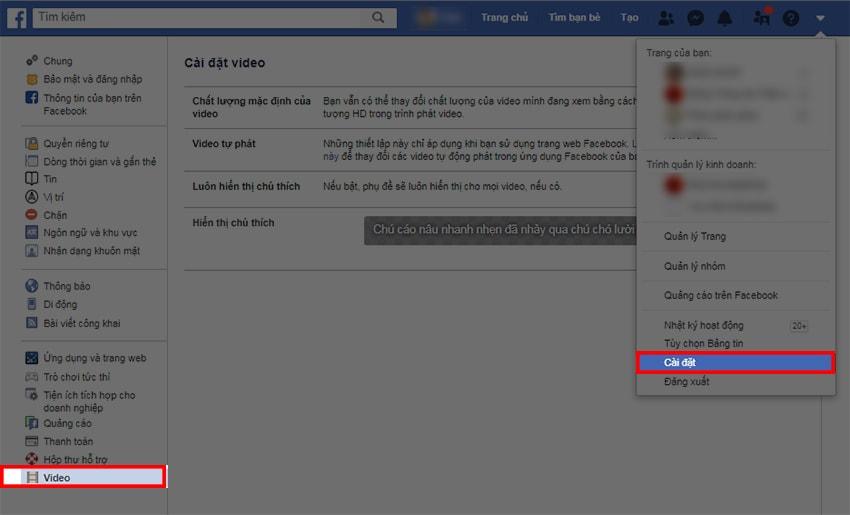 Truy cập mục Cài Đặt của tài khoản Facebook