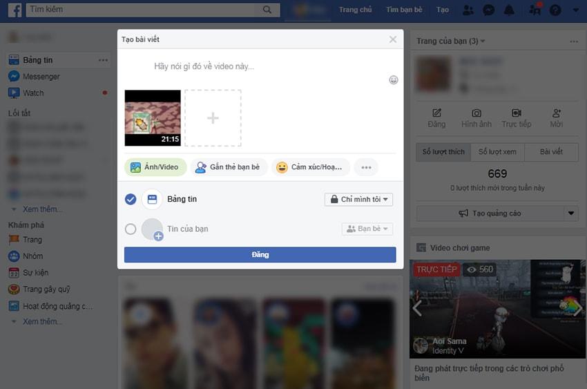 Xác nhận đăng clip lên Facebook